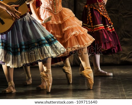 dancers in ballet shoes - stock photo
