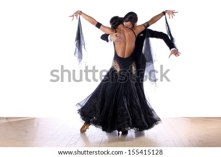 dancers in ballroom isolated on white - stock photo