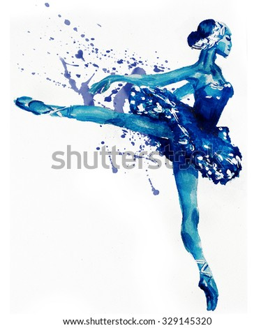 Dancing Ballerina in blue .Watercolor illustration - stock photo