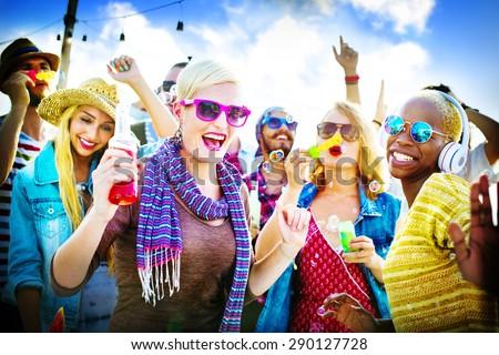 Dancing Beach Summer Happiness Joyful Concept - stock photo