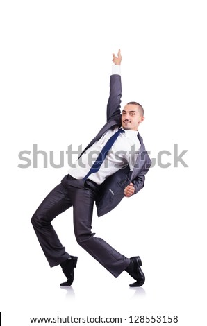 Dancing businessman isolated on white - stock photo