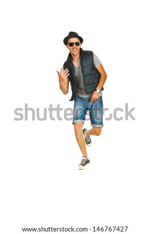 Dancing cheerful rapper man isolated on white background