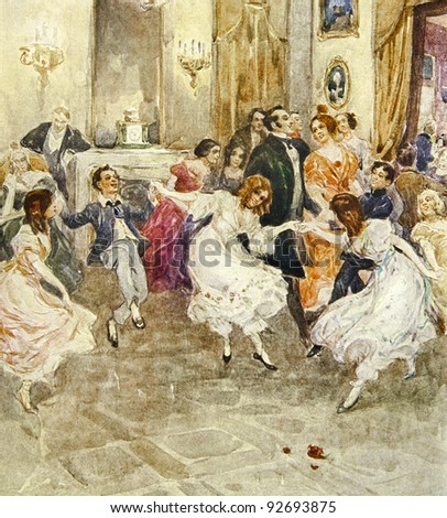 """Dancing children. Illustration by artist A.Apnist from book """"Leo Tolstoy """"Childhood, adolescence, youth"""", publisher - """"Partnership Sytin"""", Moscow, Russia, 1914. - stock photo"""
