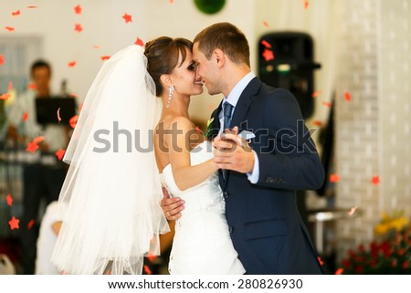 dancing couple  on the  background restaurant - stock photo