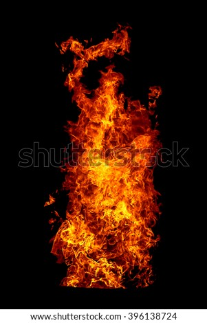 Dancing fire. The structure of fire fixed by a short stand-up - stock photo
