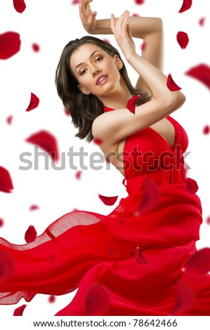 dancing girl in a beautiful dress - stock photo