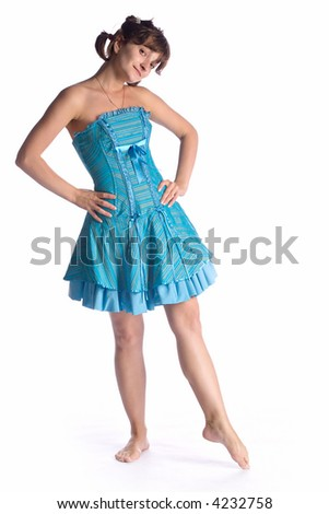 dancing girl in blue dress isolated on white background