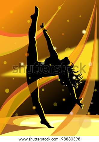 Dancing girl with transparent ribbons - stock photo