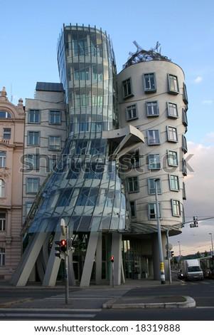 Dancing house - modern architecture design. Prague, Czech - stock photo