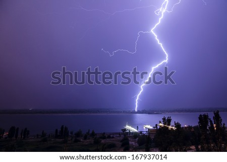 Dancing lightning. - stock photo