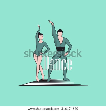 Dancing Logo of classical dancer - stock photo