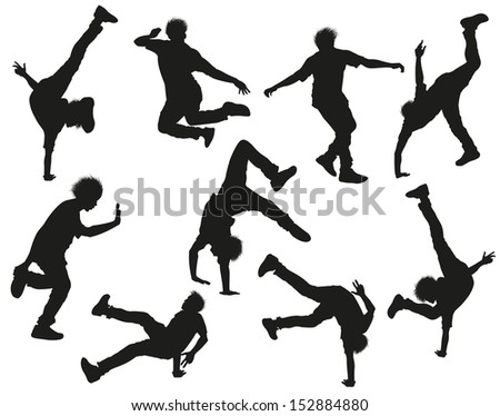 Dancing male silhouettes on white. Raster version of vector illustration