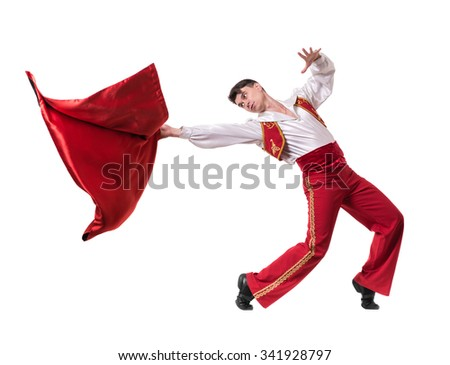 Dancing man wearing a toreador costume. Isolated on white background in full length.