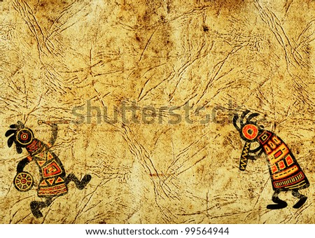 Dancing musician. Grunge background with African traditional patterns