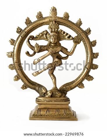 dancing shiva on white background - stock photo