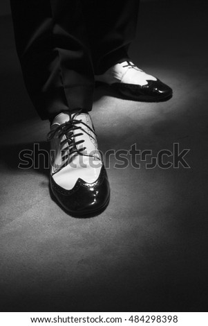 Dancing shoes feet of male ballroom, latin, salsa and swing dancer