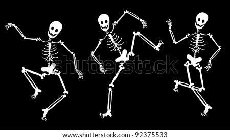 dancing skeletons - stock photo