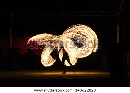 Dancing with the fire - stock photo