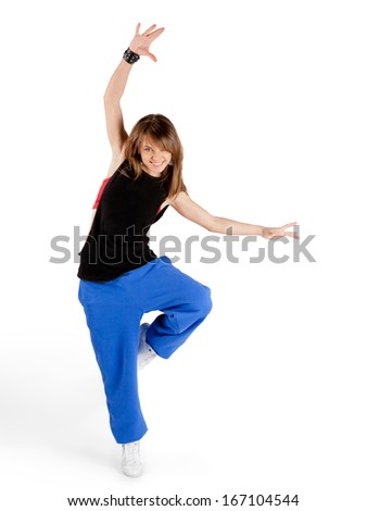 dancing young woman isolated on white background - stock photo
