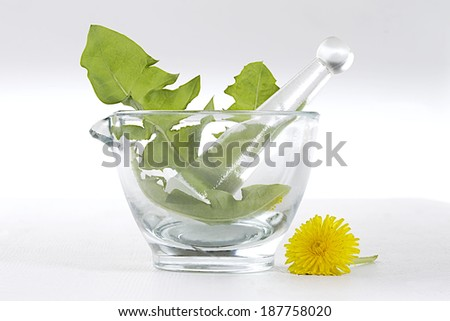 dandelion and flowers in glass mortar and a mortar  - stock photo