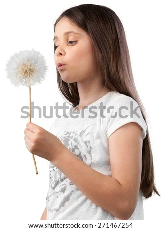 Dandelion, Blowing, Child. - stock photo