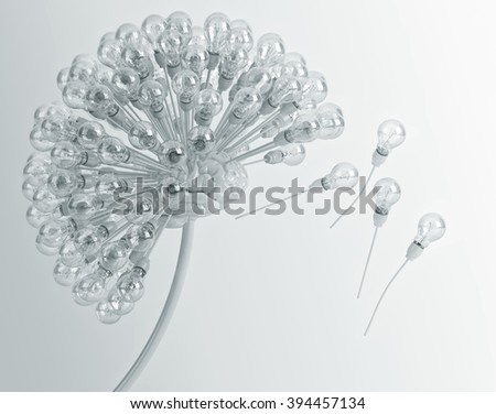 dandelion, brain, bulbs, ideas, inspiration - stock photo