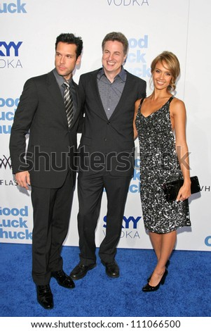"""Dane Cook with Mark Helfrich and Jessica Alba at the Los Angeles Premiere of """"Good Luck Chuck"""". Mann National Theater, Westwood, CA. 09-19-07 - stock photo"""