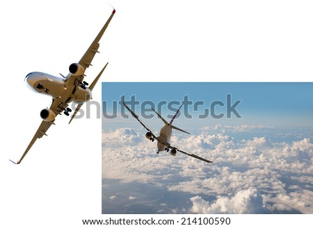 danger between two aircraft during flight (aviation accident)  - stock photo