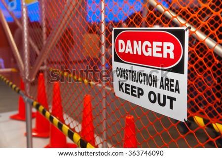 Danger Construction Area sign. Selective focus. - stock photo