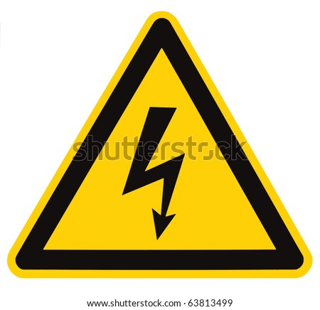 Danger Electrical Hazard High Voltage Sign Isolated, black triangle over yellow, large macro - stock photo