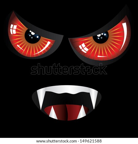 Danger evil face with red eyes and fangs on black background. - stock photo