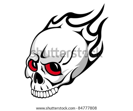 Danger evil skull with flames as a tattoo isolated on white. Vector version also available in gallery - stock photo