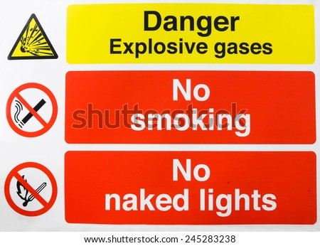 Danger Gas no smoking no naked lights sign - stock photo