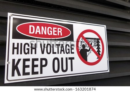 Danger High Voltage Keep Out Sign - stock photo