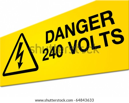 Danger high voltage sign isolated on white background