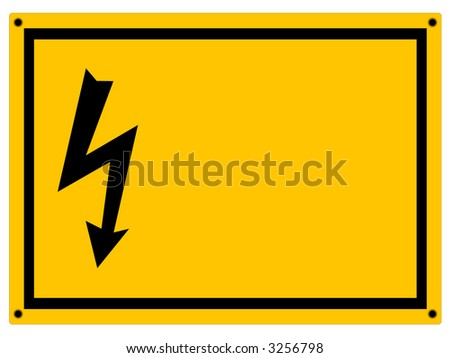 Danger / High Voltage warning sign with copyspace isolated on white. - stock photo