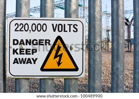 Danger Keep Away 220 thousand volts - stock photo