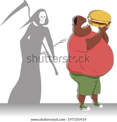 Danger of overeating. Grim reaper touches a shoulder of an obese black man with a giant burger - stock photo