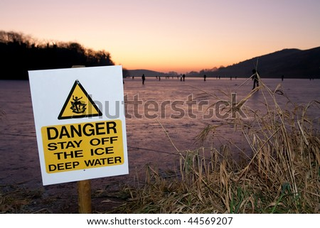 Danger on ice - stock photo