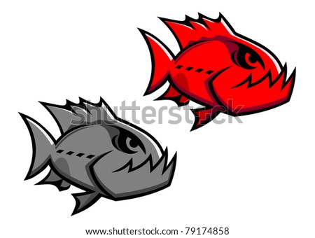 Danger piranha fish isolated on white for design. Vector version also available in gallery