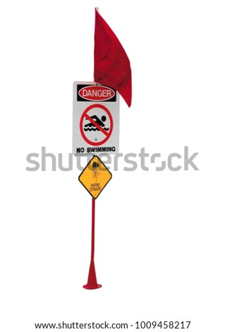 Danger red flag sign on a white background