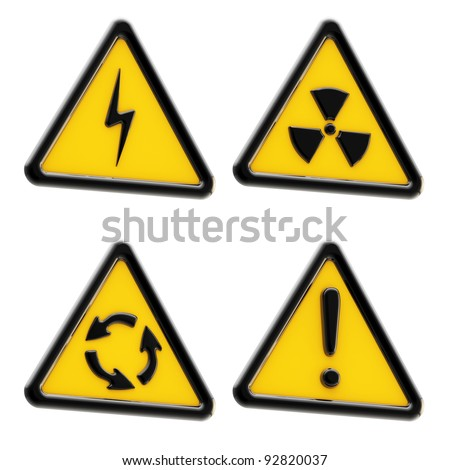 Danger: set of yellow triangle warning signs isolated on white