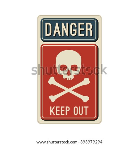 Danger sign with skull and crossbones in flat style. Raster version. - stock photo
