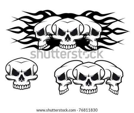 Danger skulls as a tattoo or evil concept. Vector version also available in gallery - stock photo