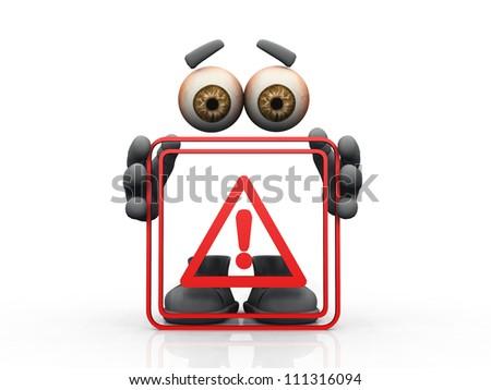 danger symbol on a white background - stock photo
