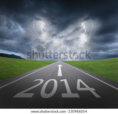 danger to 2014 new year concept , rainstorm clouds and lightning with asphalt road - stock photo