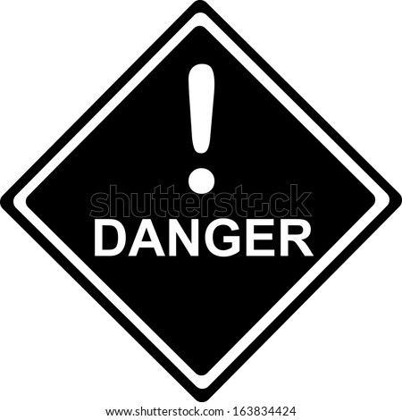 Danger - Traffic black Sign isolated on white