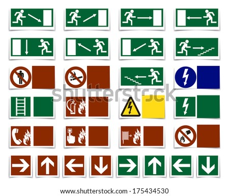 Danger, warning, exit sign - symbol set, collection with shadow - stock photo