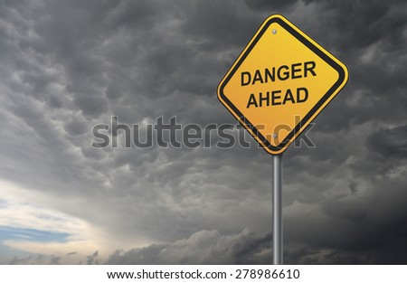 danger warning road sign - stock photo