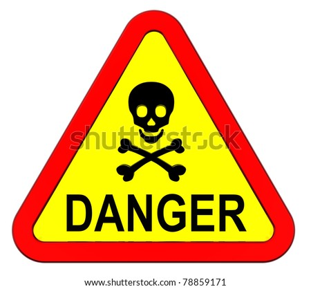 Danger warning sign isolated on white - stock photo